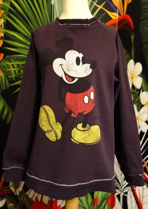 Used-Look-Mickey-Sweater, aubergine, Gr. L, von Disney, Langarm