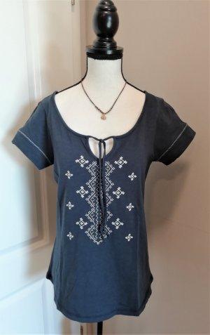 Usha Baumwoll Shirt bestickt Öko Hippie alternativ 36/S Marine