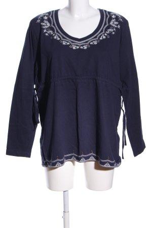 Usha Rundhalspullover blau-weiß Casual-Look