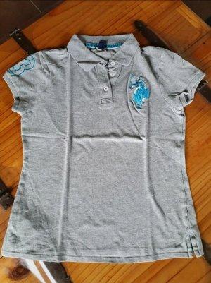 USPA Polo shirt lichtgrijs-lichtblauw