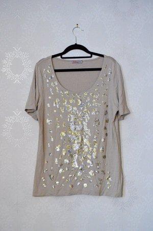 Uta Raasch Shirt Pailetten Rundhals Designer Basic Gold Silber Metallic Edel