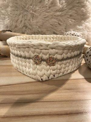 Handmade Torebka koszyk w kolorze białej wełny