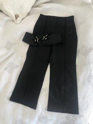 Uterqüe Pantalone a 3/4 nero Pelle