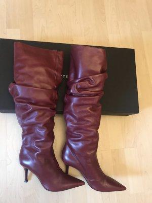 Uterqüe Boots Leder rot Trend 41