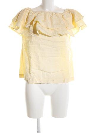 Uterqüe Blusa alla Carmen giallo pallido stile da moda di strada