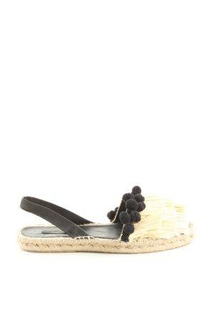 Uterqüe Espadrilles-Sandalen creme-schwarz Elegant