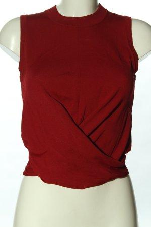 Uterqüe Sweter bez rękawów z cienkiej dzianiny czerwony W stylu casual