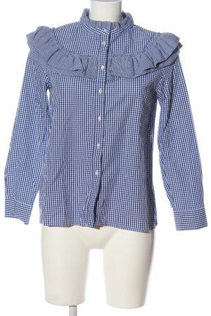 Uterqüe Camicia blusa blu-bianco stampa integrale stile casual