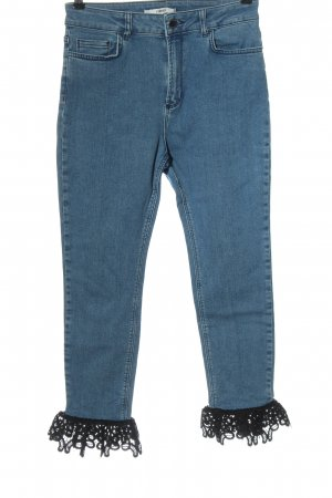 Uterqüe Jeans a vita alta blu-nero stile casual