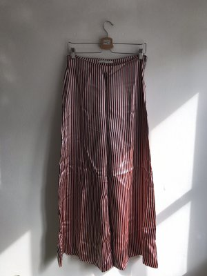 Uterqüe Pantalone palazzo blu scuro-rosa pallido