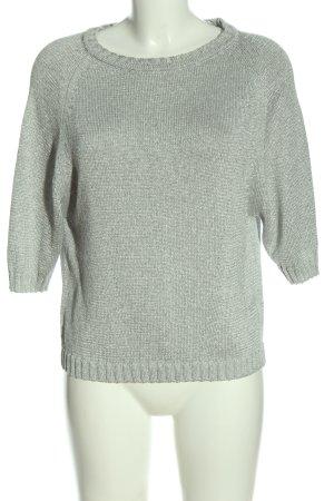 Uterqüe Maglione a maniche corte grigio chiaro puntinato stile casual
