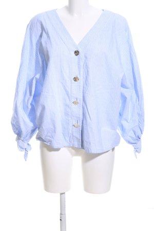 Uterqüe Langarm-Bluse blau-weiß Streifenmuster Business-Look