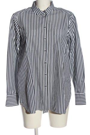 Uterqüe Camicia a maniche lunghe nero-bianco motivo a righe stile casual