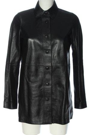 Uterqüe Camicia in pelle nero stile professionale