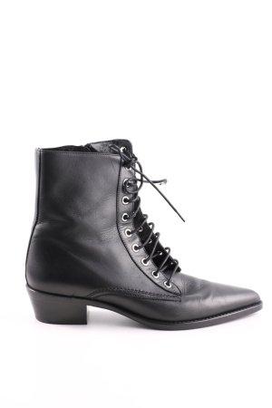 Uterqüe Reißverschluss-Stiefeletten schwarz Casual-Look