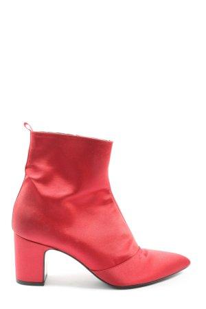 Uterqüe Reißverschluss-Stiefeletten rot Elegant