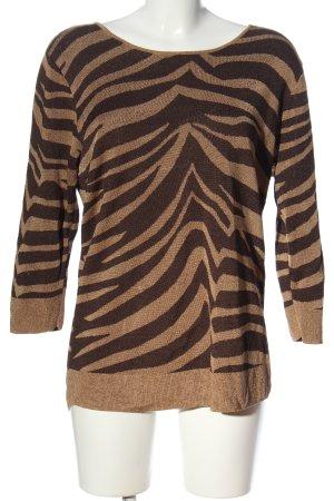 Uterqüe Maglione lavorato a maglia marrone motivo astratto stile casual