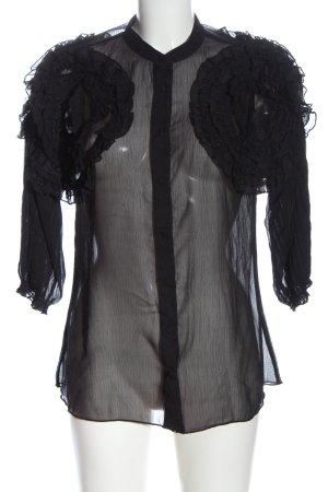 Uterqüe Blusa trasparente nero stile casual
