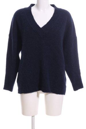 Uterqüe Maglione con scollo a V blu stile casual