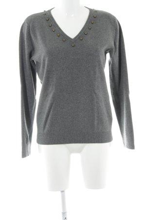 Uterqüe Maglione con scollo a V grigio-antracite stile casual