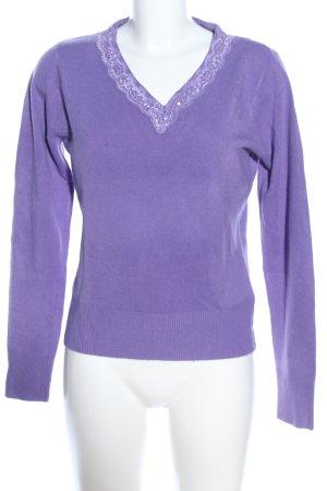V-Ausschnitt-Pullover lila Casual-Look
