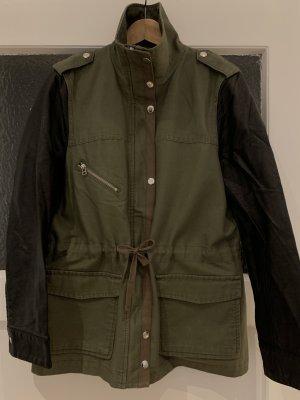 H&M Chaqueta militar caqui-negro Algodón