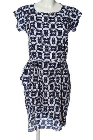 Uttam Boutique Kurzarmkleid blau-weiß Allover-Druck Casual-Look