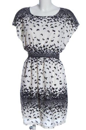 Uttam Boutique Kurzarmkleid weiß-schwarz Allover-Druck Casual-Look