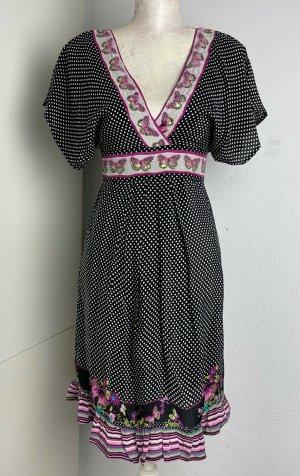 * UTTAM BOUTIQUE * Mini Kleid 100% SEIDE ZIERSTEINE SCHMETTERLiNGE rosa weiß gepunktet Gr S