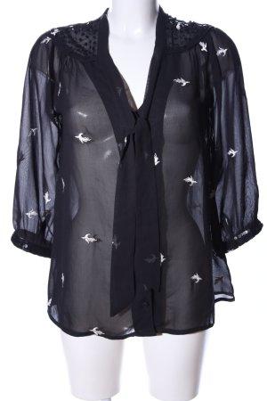 Uttam Boutique Transparenz-Bluse schwarz-weiß Allover-Druck Elegant