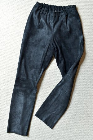 UTZON Pantalon en cuir noir cuir