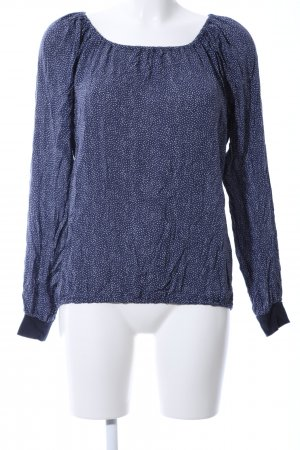 uvr connected Langarm-Bluse blau-weiß Allover-Druck Business-Look