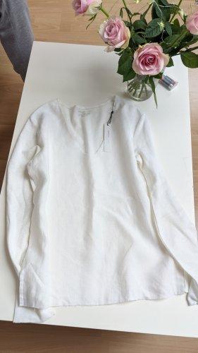 V-Ausschnitt Basic Shirt baumwolle/linen majestic filatures