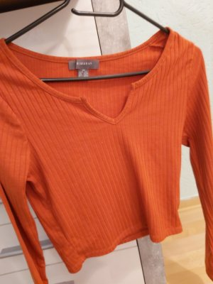 Primark Pull col en V orange-orange foncé