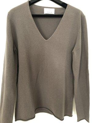Allude Kaszmirowy sweter beżowy-szaro-brązowy Kaszmir
