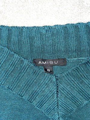 Amisu Pull col en V bleu pétrole