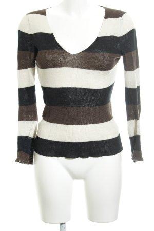 V-Ausschnitt-Pullover mehrfarbig schlichter Stil