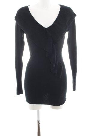 AZAKA Paris V-Ausschnitt-Pullover schwarz Casual-Look