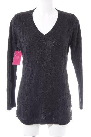 V-Ausschnitt-Pullover schwarz Glitzer-Optik