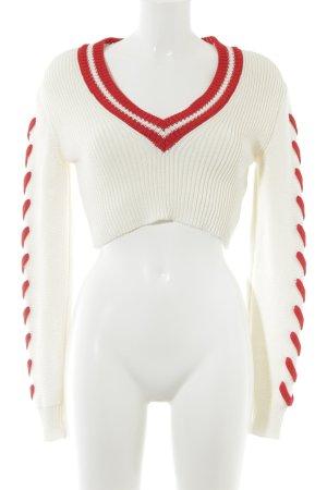 Off-White V-Ausschnitt-Pullover wollweiß-dunkelrot Casual-Look
