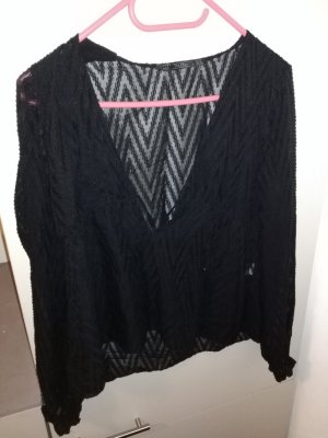 Zara Camisa con cuello V negro