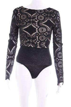 V-Ausschnitt-Shirt schwarz-creme abstraktes Muster Elegant