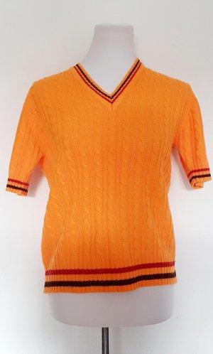V Ausschnitt Strickpullover gelb orange Gr 38