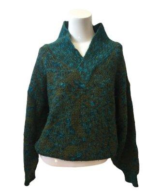 Vintage Pull col en V multicolore laine