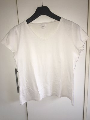 V-Ausschnitt T-Shirt einfarbig weiß