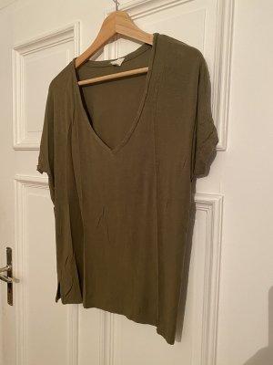 V-Ausschnitt T-Shirt grün