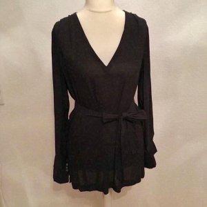 V-Bluse mit Bindeband schwarz H&M Größe 38