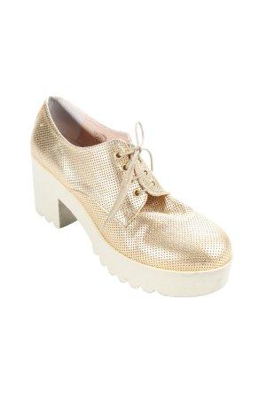 V boots & shoes Schnürschuhe goldfarben-creme extravaganter Stil