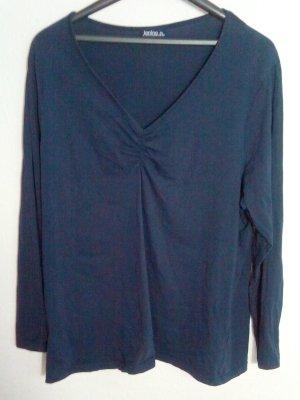 V-Neck Langarm Shirt Größe 48/50 Dunkelblau