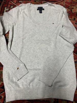 Tommy Hilfiger Sweter z dekoltem w kształcie litery V jasnoszary